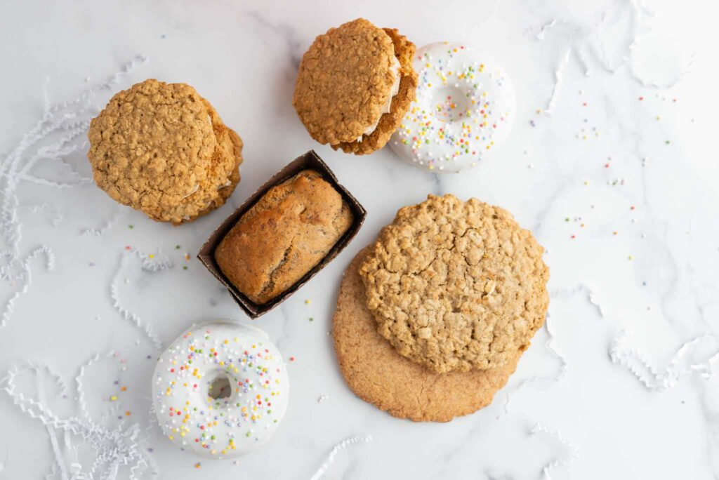 Banana bread white donuts and oatmeal cookies.